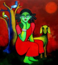 Figurative Acrylic Art Painting title 'Magical land' by artist Sharmi Dey