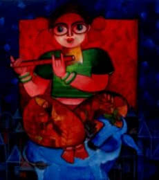 Figurative Acrylic Art Painting title TIANNA by artist Sharmi Dey