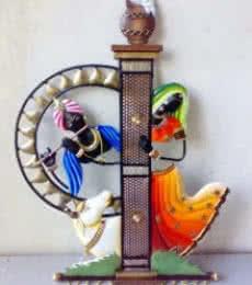 Nitesh   Radha Krishna And Cow Pillar Craft Craft by artist Nitesh   Indian Handicraft   ArtZolo.com