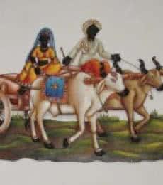 Nitesh | Villager Couple In Bullock Cart Craft Craft by artist Nitesh | Indian Handicraft | ArtZolo.com