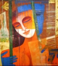 Nautanki Series 3 | Painting by artist Chaitali Mukherjee | acrylic | Canvas