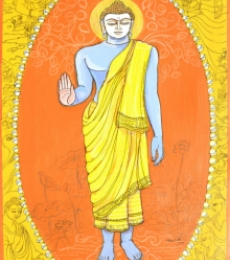 Religious Acrylic-pen Art Painting title 'Buddha Avatar From Dashavtaar Series 9' by artist Manisha Srivastava