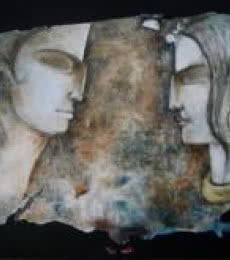 Figurative Oil Art Painting title 'You And Me Ii' by artist Manoj Muneshwar