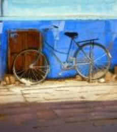 Realistic Watercolor Art Painting title 'Blue Bicycle' by artist Ramesh Jhawar