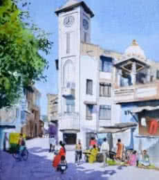 Cityscape Watercolor Art Painting title 'Clock Tower' by artist Ramesh Jhawar