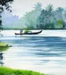 Seascape Watercolor Art Painting title 'Floating Along The Backwaters' by artist Ramesh Jhawar