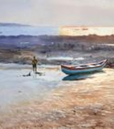 Ramesh Jhawar | Watercolor Painting title Golden Light Gorai Beach on Paper | Artist Ramesh Jhawar Gallery | ArtZolo.com