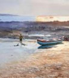 Golden Light, Gorai Beach   Painting by artist Ramesh Jhawar   watercolor   Paper