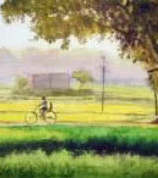 Nature Watercolor Art Painting title 'Jolly Ride' by artist Ramesh Jhawar