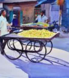 Figurative Watercolor Art Painting title 'Lemon Seller' by artist Ramesh Jhawar