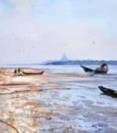 Seascape Watercolor Art Painting title 'Low Tide Gorai Creek' by artist Ramesh Jhawar