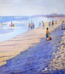 Seascape Watercolor Art Painting title 'Marina Beach Chennai' by artist Ramesh Jhawar
