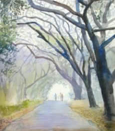 Nature Watercolor Art Painting title 'Morning Mist' by artist Ramesh Jhawar
