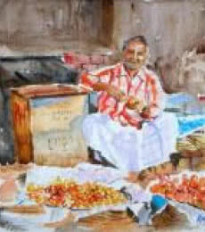 Ramesh Jhawar | Watercolor Painting title Tomato Seller on Paper | Artist Ramesh Jhawar Gallery | ArtZolo.com