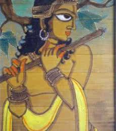 Pradeep Swain | Acrylic Painting title Krishna With Flute on Leaf | Artist Pradeep Swain Gallery | ArtZolo.com