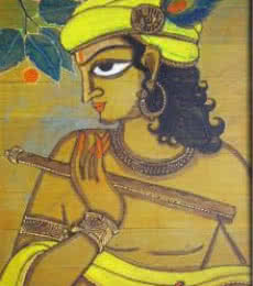 Folk Art Acrylic Art Painting title Krishna by artist Pradeep Swain