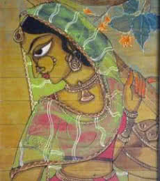 Folk Art Acrylic Art Painting title 'Indian Beauty II' by artist Pradeep Swain
