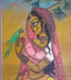 Pradeep Swain | Acrylic Painting title Woman With A Parrot on Leaf | Artist Pradeep Swain Gallery | ArtZolo.com