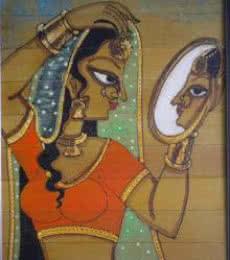 Folk Art Acrylic Art Painting title 'Shringar V' by artist Pradeep Swain