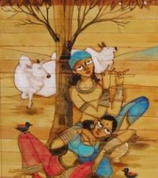 Krishna Radha Love II | Painting by artist Pradeep Swain | acrylic | Leaf