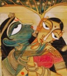Krishna Radha Love I | Painting by artist Pradeep Swain | acrylic | Leaf