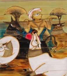 Folk Art Acrylic Art Painting title Krishna And Cows by artist Pradeep Swain