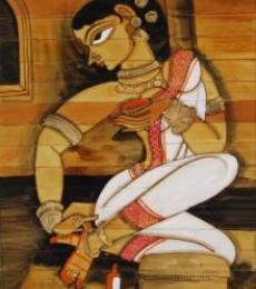 Shringar Iv | Painting by artist Pradeep Swain | acrylic | Leaf