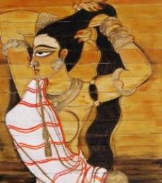 Folk Art Acrylic Art Painting title 'Shringar Iii' by artist Pradeep Swain