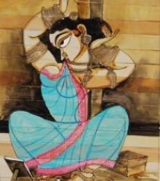 Shringar II | Painting by artist Pradeep Swain | acrylic | Leaf