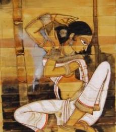 Shringar I | Painting by artist Pradeep Swain | acrylic | Leaf