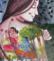 Krishna Leela I | Painting by artist Pradeep Swain | acrylic | Canvas