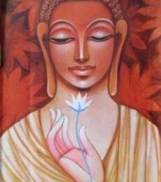 Religious Acrylic Art Painting title 'Buddha' by artist Pradeep Swain