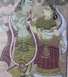 Pradeep Swain | Fabric Painting title Krishna Radha Tasar Cloth Painting V on Cloth | Artist Pradeep Swain Gallery | ArtZolo.com