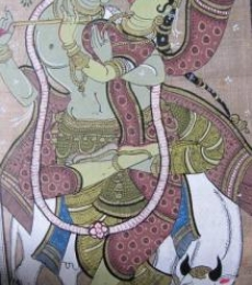 Pradeep Swain | Fabric Painting title Krishna Radha Tasar Cloth Painting IV on Cloth | Artist Pradeep Swain Gallery | ArtZolo.com