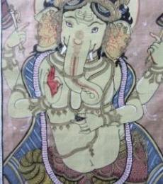 Ganesha Tasar Cloth Painting Iii | Painting by artist Pradeep Swain | other | Fabric