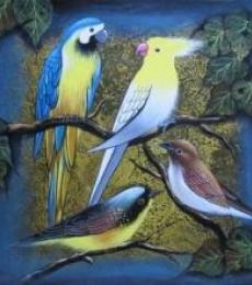 Birds 1 | Painting by artist Pradeep Swain | acrylic | Canvas
