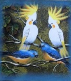 Pradeep Swain | Acrylic Painting title Birds 3 on Canvas | Artist Pradeep Swain Gallery | ArtZolo.com