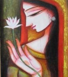 Pradeep Swain | Acrylic Painting title Meera 1 on Canvas | Artist Pradeep Swain Gallery | ArtZolo.com