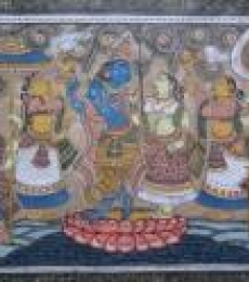 Krishna Radha Tasar Cloth Painting Iii | Painting by artist Pradeep Swain | other | Fabric