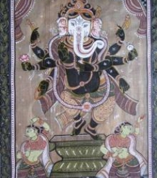 Pradeep Swain Paintings | Folk art Painting - Ganesha Tasar Cloth Painting I by artist Pradeep Swain | ArtZolo.com