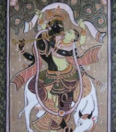 Folk Art Fabric Art Painting title 'Krishna Radha Tasar Cloth Painting Ii' by artist Pradeep Swain