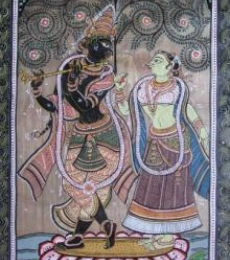 Folk Art Fabric Art Painting title 'Krishna Radha Tasar Cloth Painting I' by artist Pradeep Swain