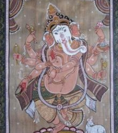 Pradeep Swain Paintings | Folk art Painting - Dancing Ganesha Tasar Cloth Painting by artist Pradeep Swain | ArtZolo.com