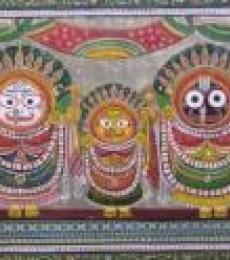 Folk Art Fabric Art Painting title God Tasar Cloth Painting I by artist Pradeep Swain