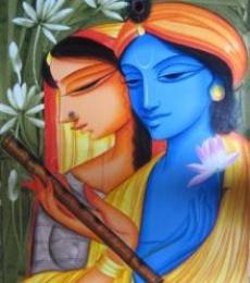 Religious Acrylic Art Painting title Krishna Radha 1 by artist Pradeep Swain