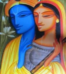Krishna Radha 2 | Painting by artist Pradeep Swain | acrylic | Canvas
