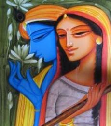Religious Acrylic Art Painting title Krishna Radha 3 by artist Pradeep Swain