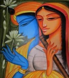 Religious Acrylic Art Painting title Krishna Radha 4 by artist Pradeep Swain