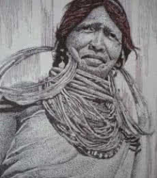 Tribal Lady 5 | Drawing by artist Pradeep Swain |  | pen | Paper