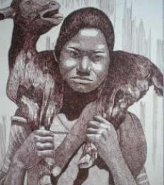 Animals Pen Art Drawing title 'Tribal Lady 6' by artist Pradeep Swain